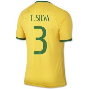 Camiseta nueva del Brasil de la Seleccion WC2014 T.Silva Primera