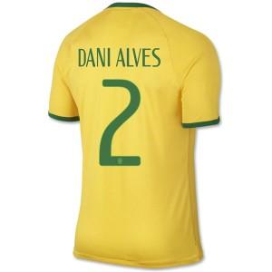 Camiseta de Brasil de la Seleccion WC2014 Primera Dani Alves