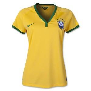 Camiseta Brasil de la Seleccion Primera WC2014 Mujer