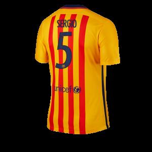 Camiseta del Numero 05 SERGIO Barcelona Segunda Equipacion 2015/2016