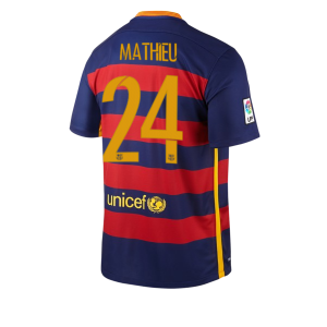 Camiseta de Barcelona 2015/2016 Primera Numero 24 MATHIE Equipacion