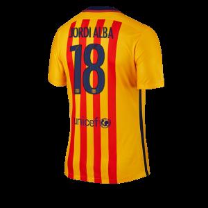 Camiseta del Numero 18 JORDI Barcelona Segunda Equipacion 2015/2016