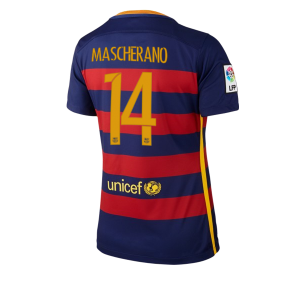 Mujer Camiseta del Numero 14 Barcelona Primera Equipacion 2015/2016
