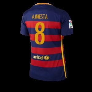 Camiseta de Barcelona 2015/2016 Primera Numero 08 Equipacion Mujer