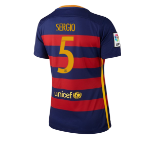 Camiseta Barcelona Numero 05 Primera Equipacion 2015/2016 Mujer