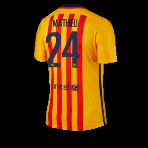 Camiseta Barcelona Numero 24 MATHIE Segunda Equipacion 2015/2016