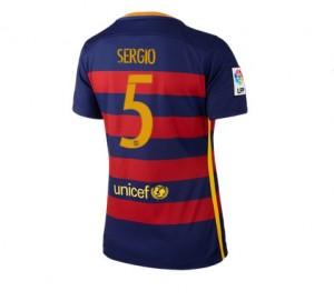 Mujer Camiseta del Numero 05 Barcelona Primera Equipacion 2015/2016