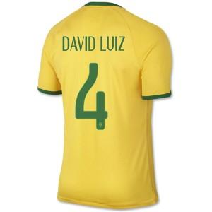 Camiseta de Brasil de la Seleccion WC2014 Primera David Luiz