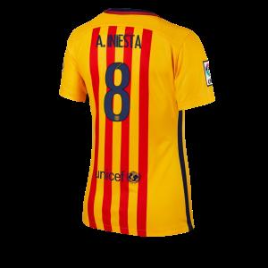 Camiseta Barcelona Numero 08 Segunda Equipacion 2015/2016 Mujer