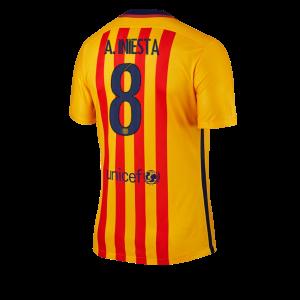 Camiseta de Barcelona 2015/2016 Segunda Numero 08 A. INI Equipacion